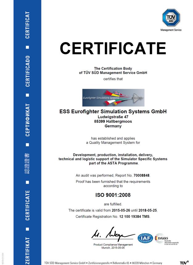 TÜV Certificate 2015